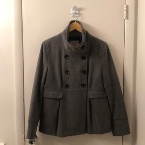 High Collar Double Breasted Grey Peacoat - Size L
